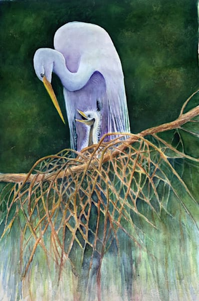 Heron' Baby, From an Original Watercolor Painting