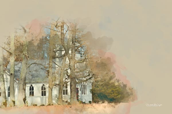 Beautiful Creative Country Church Watercolor