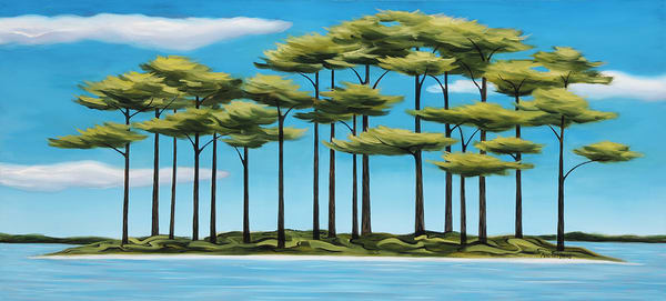"Isle Of Pines 48x22"" Art | Margaret Biggs Fine Art"