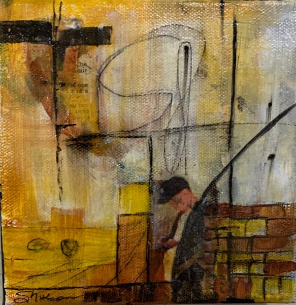 United States, Mixed media, abstract, figure, acrylic, yellow, burnt Sienna, black, collage, art, fine art