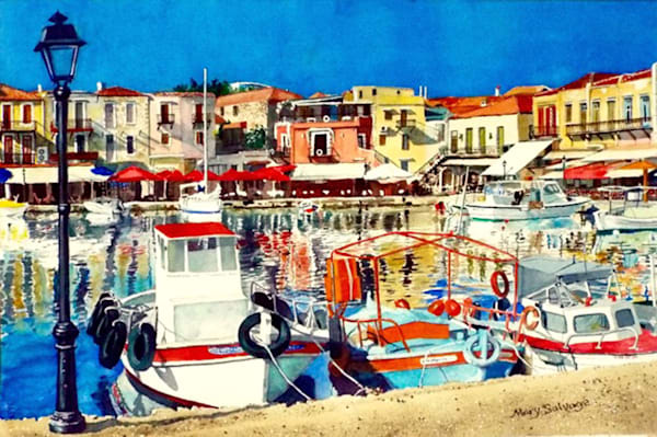 Venetian Harbor Rethymno II, From an Original Watercolor Painting