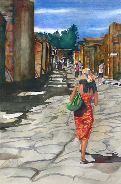 Tourist In Pompeii, From an Original Watercolor Painting
