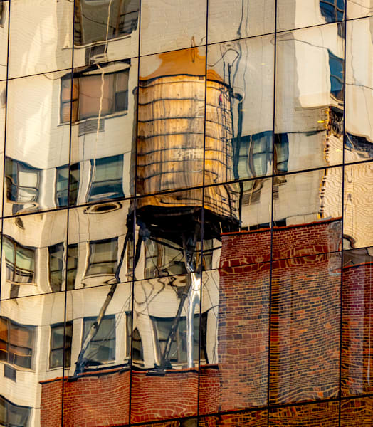 Reflection Of A Water Tower, NYC