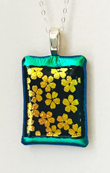 Green Gold Flower Necklace Art | East End Arts