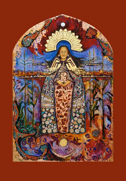 La Conquistadora, Puebloan corn maiden, Dine spider woman exvoto retablo