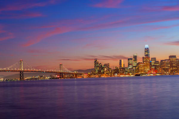 San Francisco Bay Bridge Sunset - San Francisco Pictures | William Drew