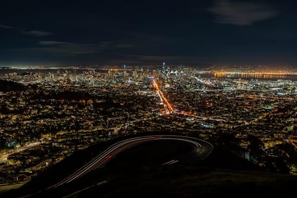 Twin Peaks at Night in San Francisco - San Francisco City Photos