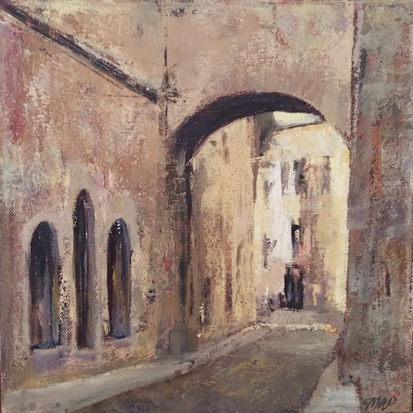 """City Passage"" Original Painting Medieval Archway 10x10"