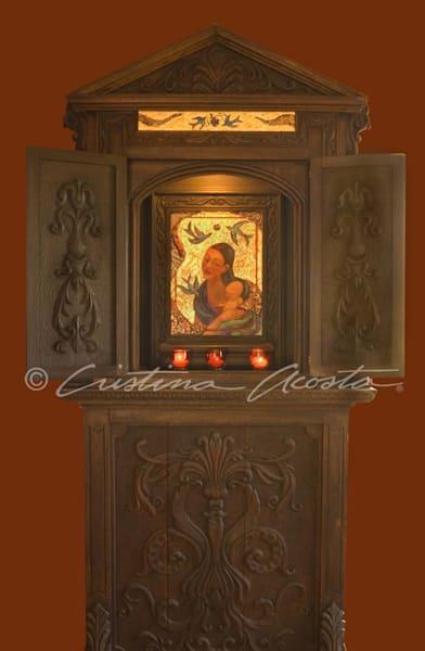 Guadalupe With Child Antique Mexican Shrine Art | Cristina Acosta Art & Design llc