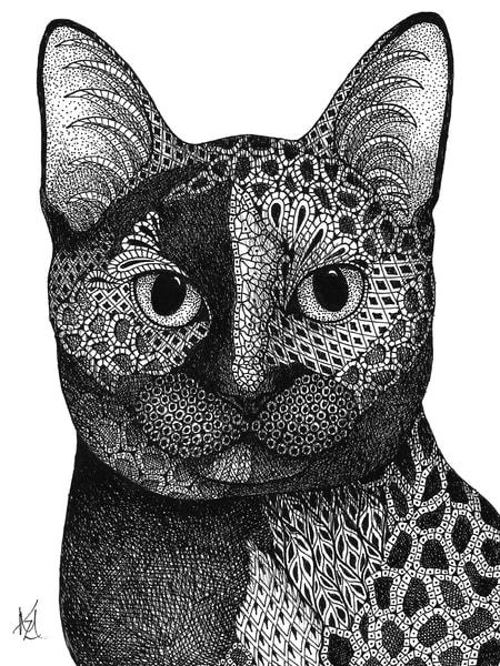 "Calico Cat | Kristin Moger ""Seriously Fun Art"""