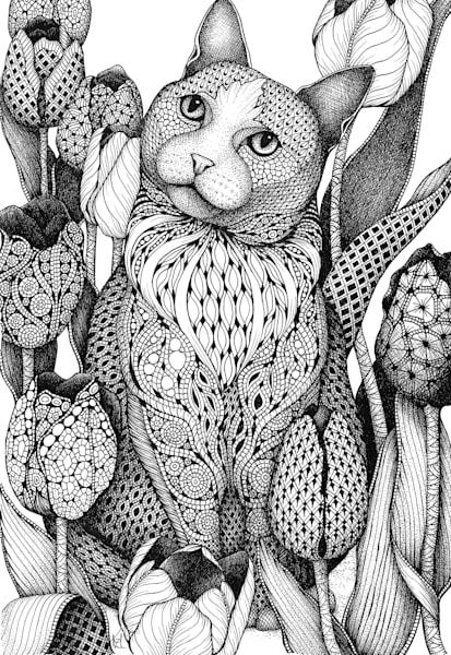 "Cat & Tulips | Kristin Moger ""Seriously Fun Art"""