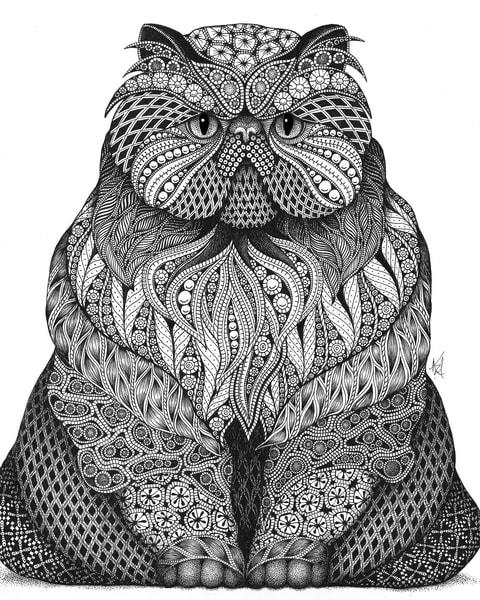 "Fat Cat | Kristin Moger ""Seriously Fun Art"""