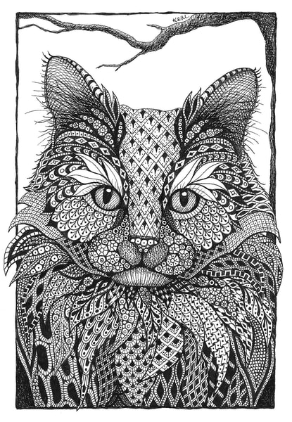 "Long Haired Cat | Kristin Moger ""Seriously Fun Art"""