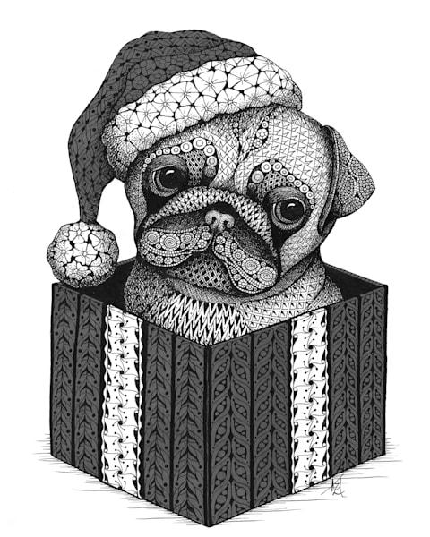 "Christmas Pug | Kristin Moger ""Seriously Fun Art"""