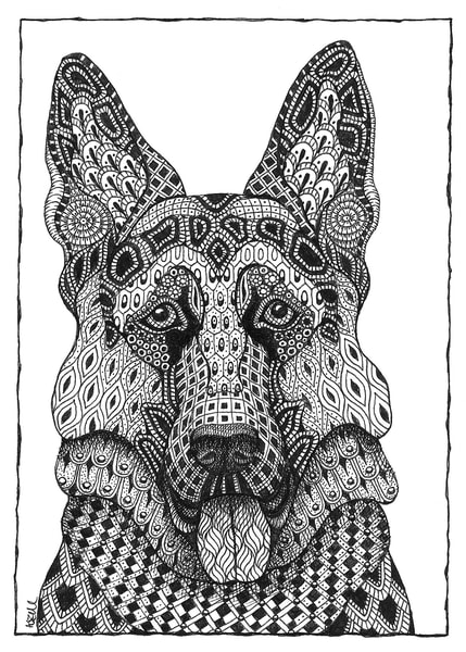 "German Shepherd | Kristin Moger ""Seriously Fun Art"""