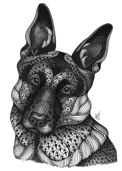 "Athena (German Shepherd) | Kristin Moger ""Seriously Fun Art"""
