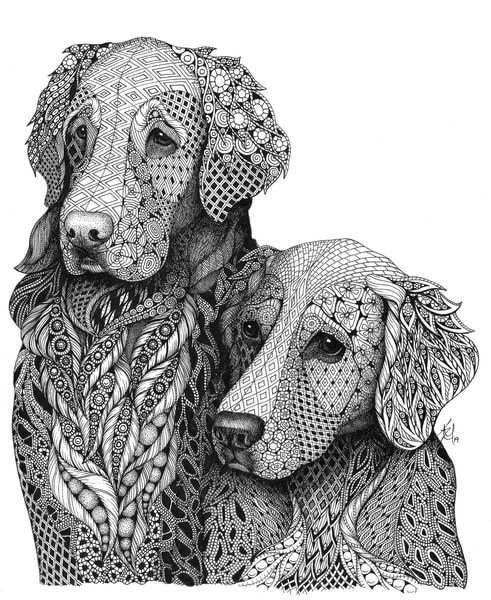 "Goldens | Kristin Moger ""Seriously Fun Art"""