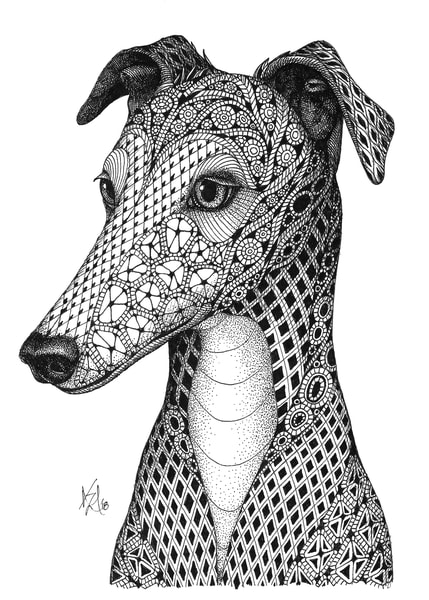 "Greyhound | Kristin Moger ""Seriously Fun Art"""