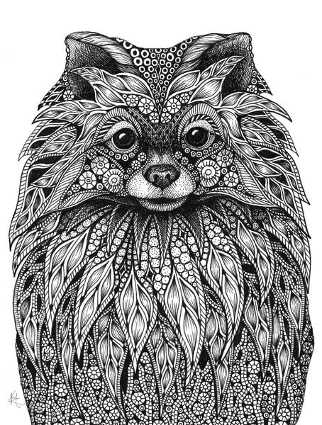 "Pomeranian | Kristin Moger ""Seriously Fun Art"""