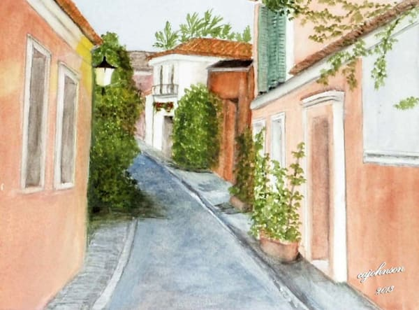 South Florida Alley, From an Original Colored Pencil Painting