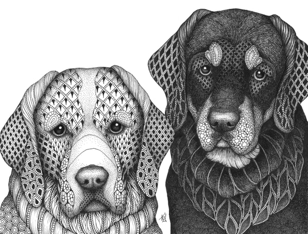 "Hound Brothers | Kristin Moger ""Seriously Fun Art"""