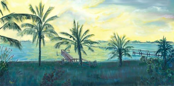 Banana River Backyard, From an Original Oil Painting