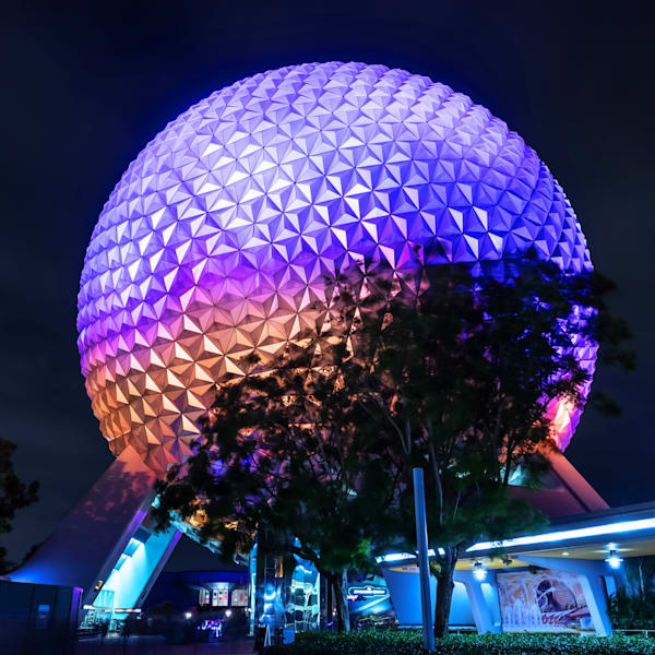 Spaceship Earth and Construction Walls - Disney Framed Artwork