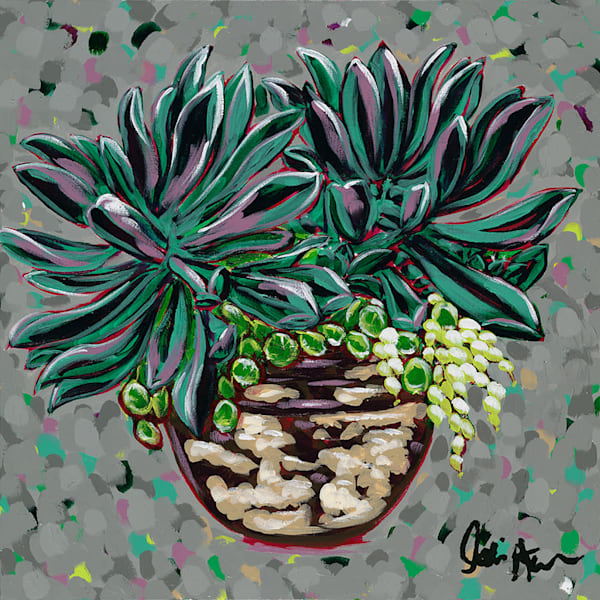 Original artwork of a green, teal, and purple plant in a clay pot.