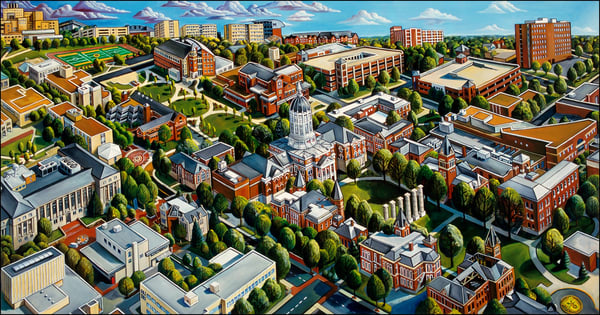 This is a painting of University of missouri White Campus section in Columbia Missouri