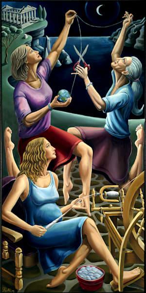 three, fates, spear, painting, sophias, restaurant