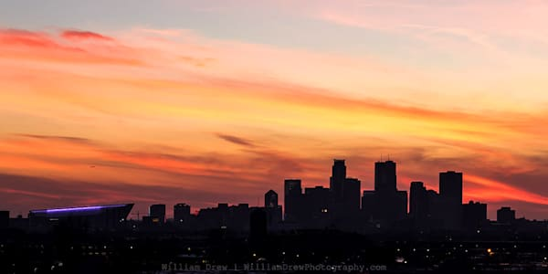 Minneapolis Sunset Silhouette - Minneapolis Wall Murals | William Drew