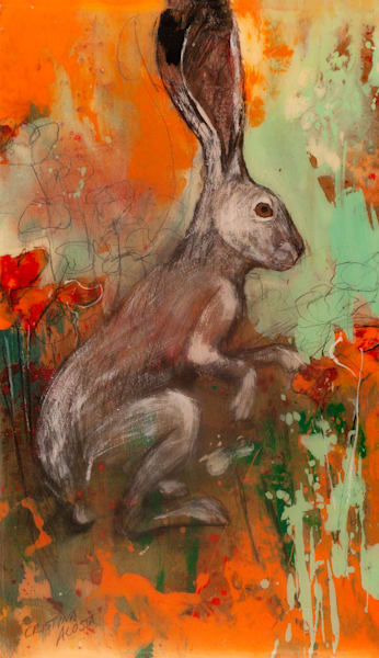 Jackrabbit hare with california poppies