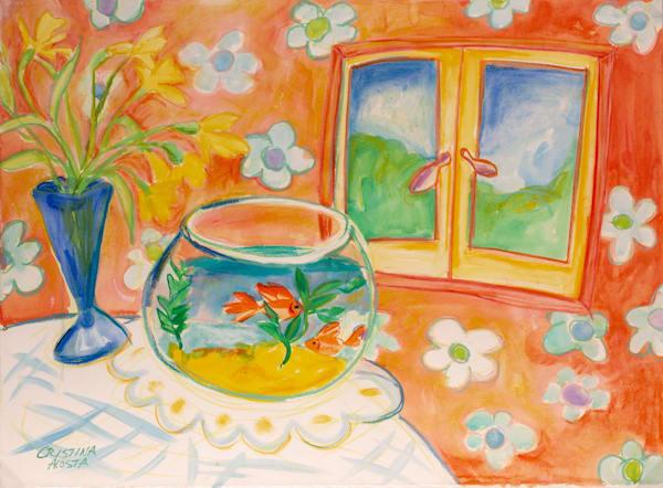 Goldfish and daffodils happy art