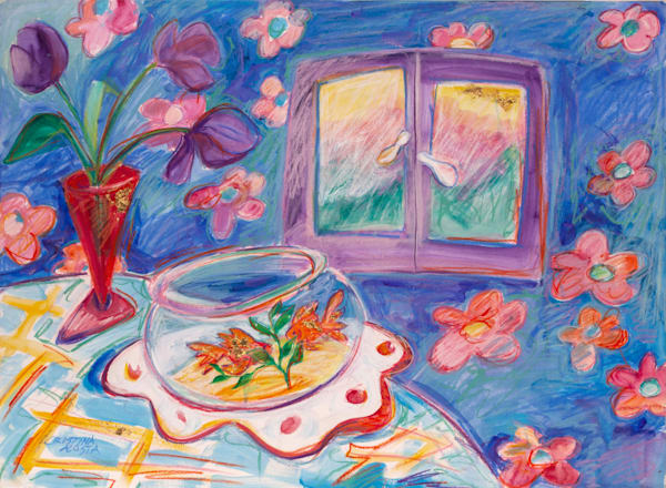 goldfish and purple daffodils paint happy by cristina acosta