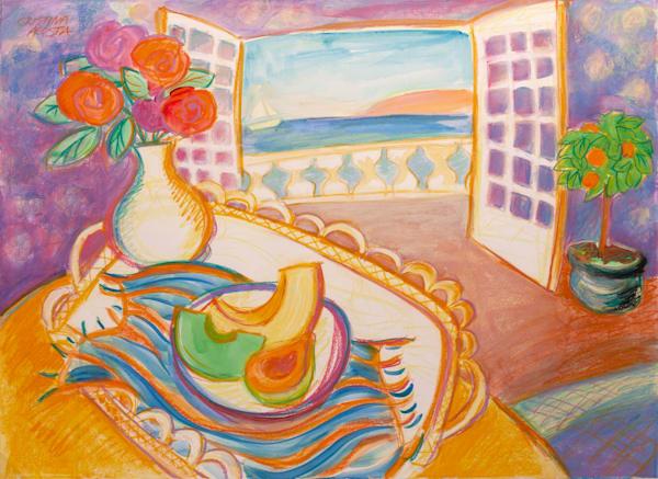 Seaside Breakfast happy painting