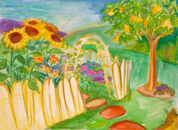 sunflower garden paint happy art