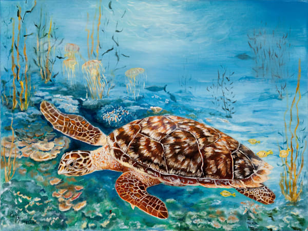 Sea Turtle, From an Original Oil Painting