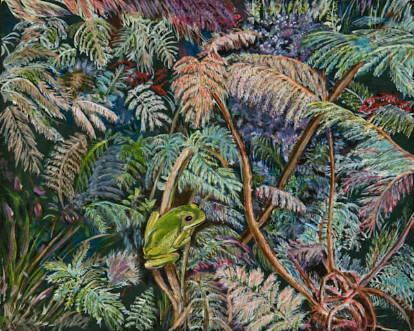Frog in the Fern, From an Original Oil Painting