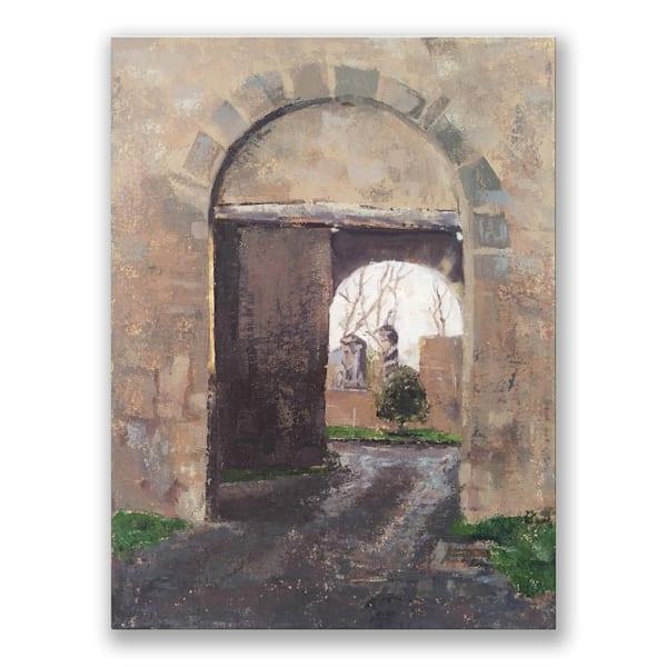 """Uphill into Light"" Original Oil Painting 12"" x 16"" Italian Medieval Gate"