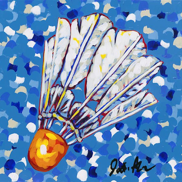 Original artwork by Jodi Augustine of a shuttlecock on a blue and white background.