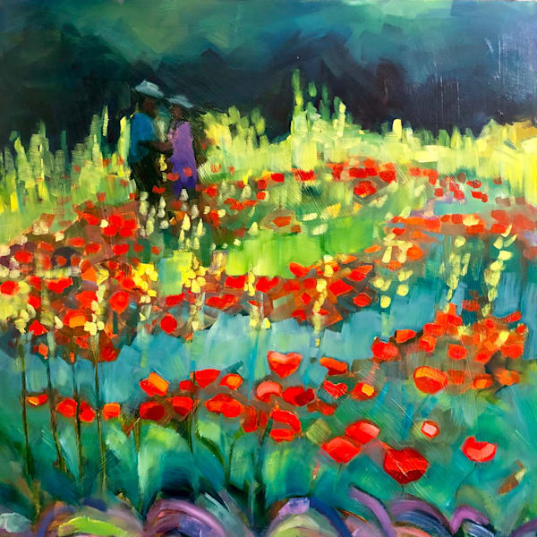 """Garden Promise"" plein air painting by Monique Sarkessian  is made with oil paint on wood.panel  I painted this at Chanticleer Garden in Wayne, PA.  24""h x 24""w on wood panel."