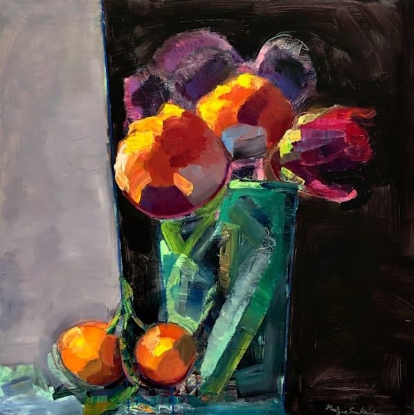 """Exciting """"Still Life with Parrot Tulips and  Mandarin"""". Loads of charm! Original  art by Monique Sarkessian. oil paint and mixed media on 24x24""""."""