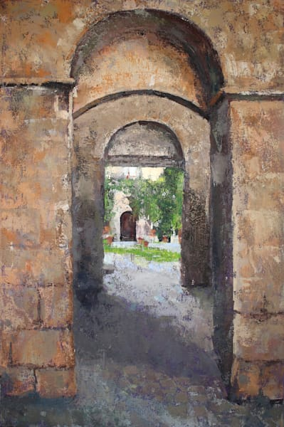 """Courtyard Bagnoregio 2"" Original Oil Painting 24x36 Medieval Architecture  Art 