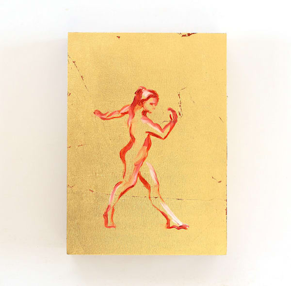 Red Dance Walk Gold Silhouette Painting