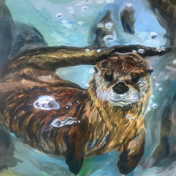 River otter art print, underwater bubbles wildlife art from acrylic painting