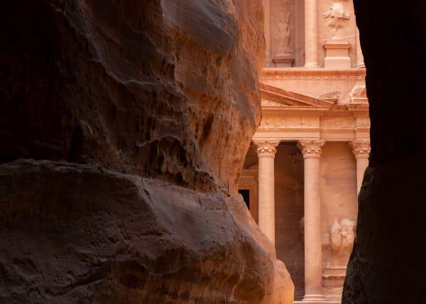 Narrow canyon leading towards the face of the Treasury, Petra, Jordan.