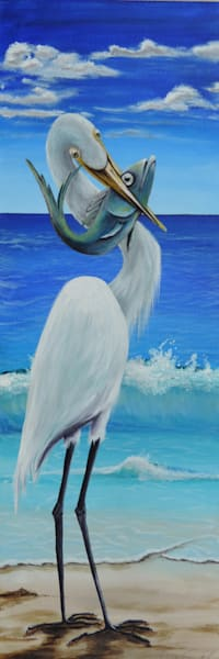 Egret Catch Art | Shore Paintings