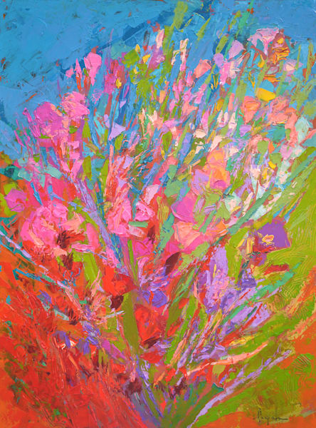 Colorful Abstract Flower Painting, Original Oil by Dorothy Fagan