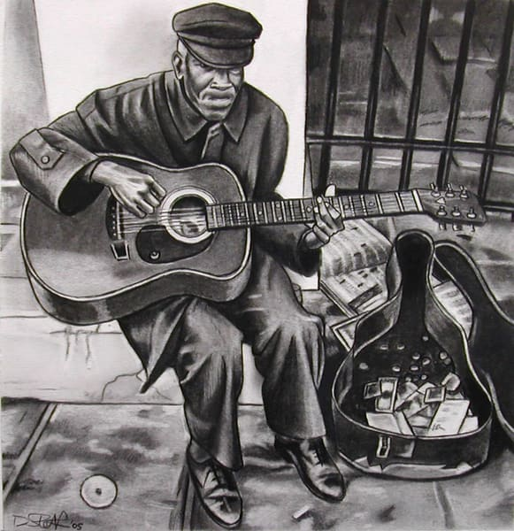 Guitarist In Jackson Square Art | David Spear