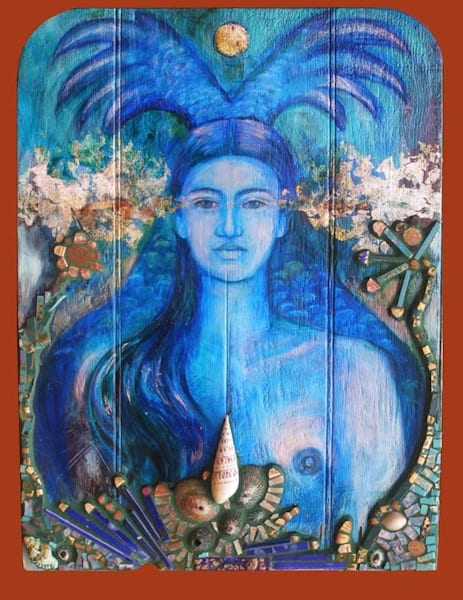 la sirena the blue mermaid exvoto retablo vintage mosaic